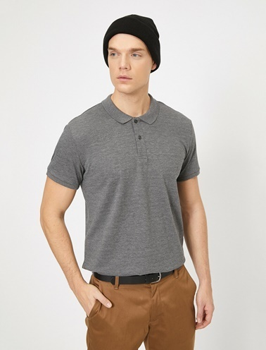 Koton Polo Yaka Kisa Kollu Slim Fit Basic T-Shirt Gri